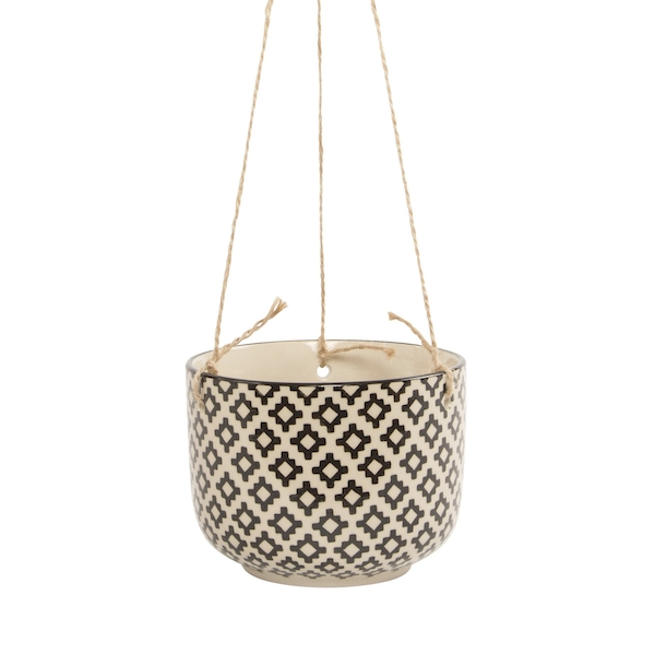 Sass & Belle Black Geo Tahlia Hanging Planter
