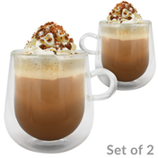 2 x Double Walled 275ml Glass Mugs | M&W