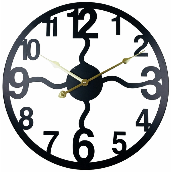 Black Metal Cut Out Wall Clock 40cm