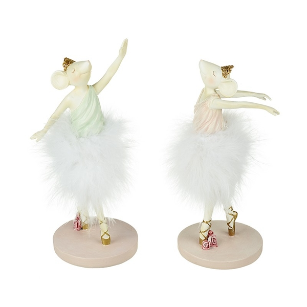 Standing Ballerina Mouse Resin Decoration (Set of 2) By Heaven Sends