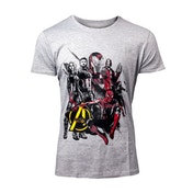 Avengers: Infinity War Characters Men's X-Large T-Shirt - Grey