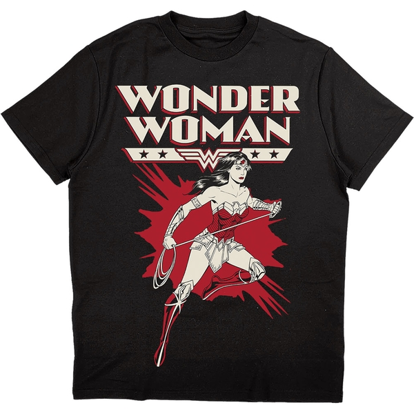 DC Comics - Wonder Woman Explosion Unisex Large T-Shirt - Black
