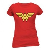 DC COMICS Women's Wonder Woman Logo Fitted T-Shirt, Medium, Red