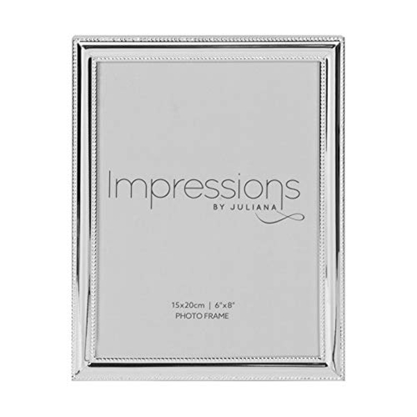 """6"""" x 8"""" - Impressions Silver Plated Beaded Edge Photo Frame"""