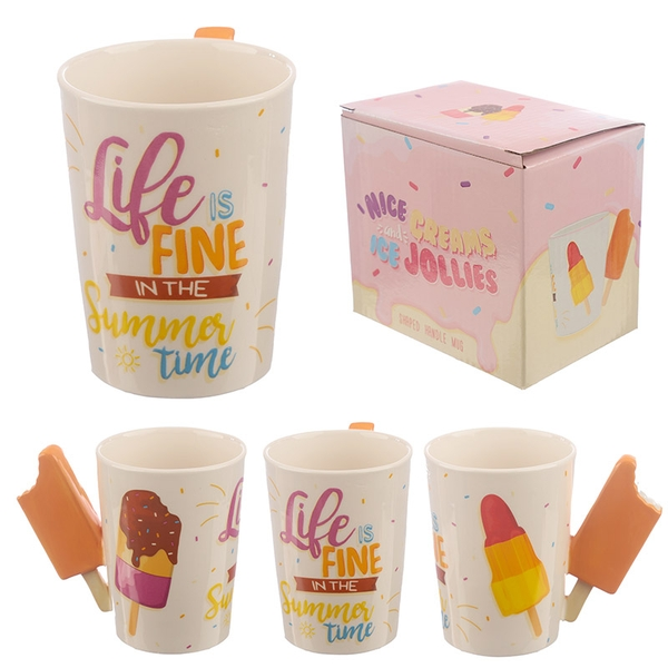 Collectable Ice Lolly Shaped Handle Ceramic Mug
