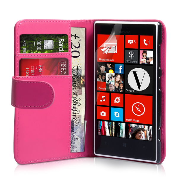 YouSave Accessories Nokia Lumia 720 Leather-Effect Wallet Case - Hot Pink