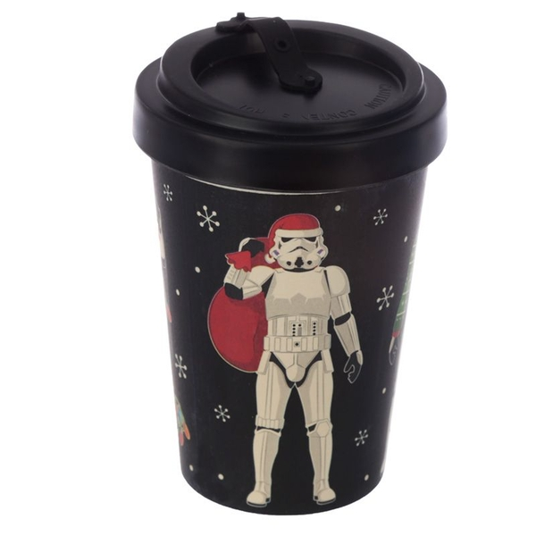 The Original Stormtrooper Christmas Black Reusable Screw Top Bamboo Composite Travel Mug