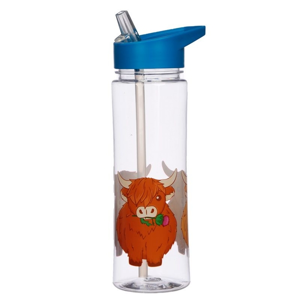 Reusable 550ml Plastic Water Bottle - Highland Coo Cow