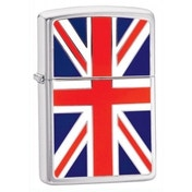 Zippo Union Jack Emblem Brushed Chrome Windproof Lighter