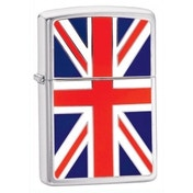 Briquet Zippo Union Jack Emblem Chrome brossé coupe-vent