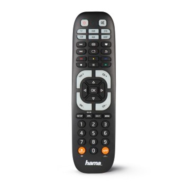 Hama 00040074 IR Wireless Press the Buttons Black Remote Control - Remote Controls (DVD/Blu-ray, STB, TV, VCR, IR Wireless, Press the Buttons, Black)