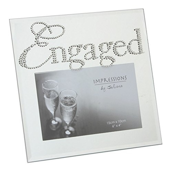 "6"" x 4"" - Mirrored Glass Photo Frame - Engaged"