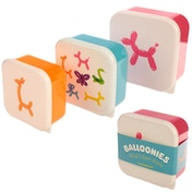Balloon Animals Design Set of 3 Plastic Lunch Boxes