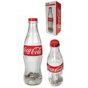 Coca Cola 12 inch Glass Contour Bottle Bank with Metal Cap