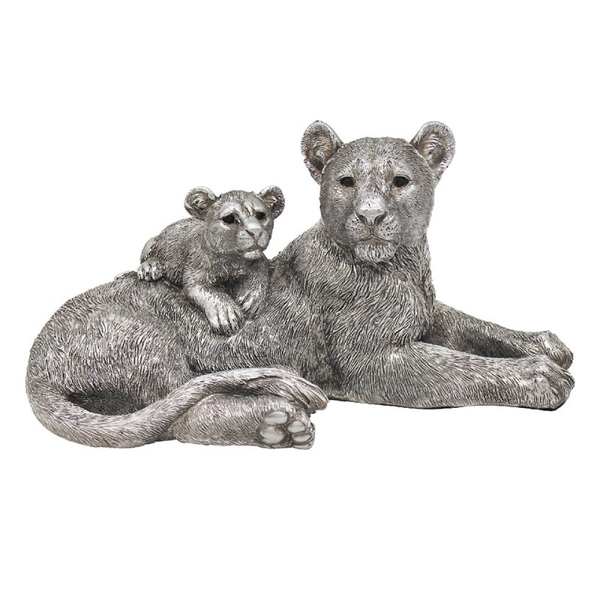 Reflections Silver Lying Lion & Cub Figurine By Leonardo
