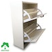 2 Drawer Shoe Cabinet White Footwear Stand Rack Unit Furniture Wooden Green House - Image 3