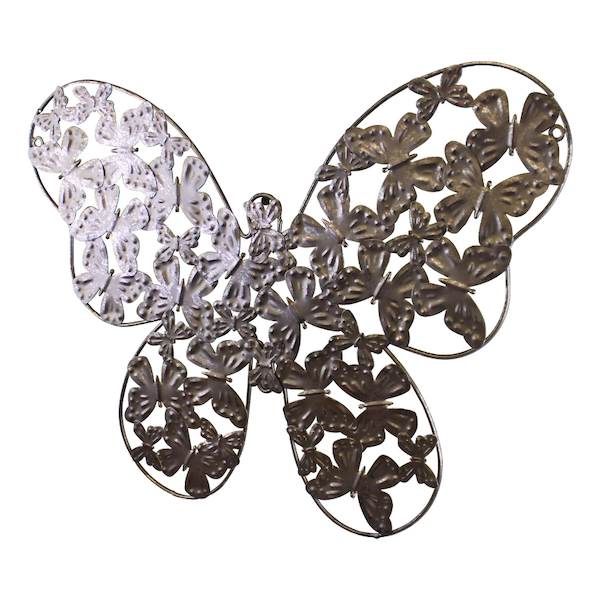 Large Silver Metal Butterfly Design Wall Decor