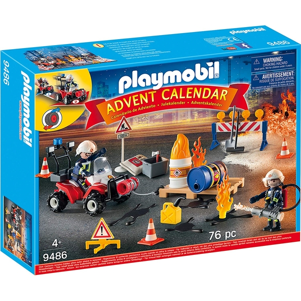 Playmobil Advent Calendar - Construction Site Fire Rescue with Pullback Motor
