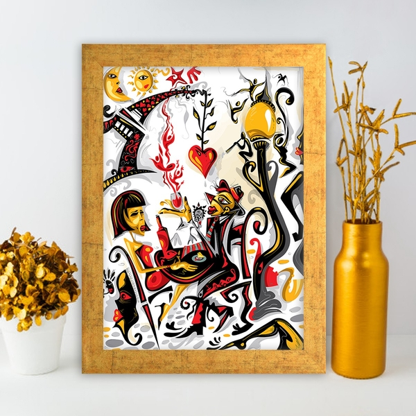 AC237801148 Multicolor Decorative Framed MDF Painting