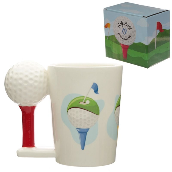 Golf Ball and Tee Ceramic Shaped Handle Mug