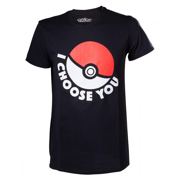 Pokemon I Choose You Mens Large Black T-Shirt
