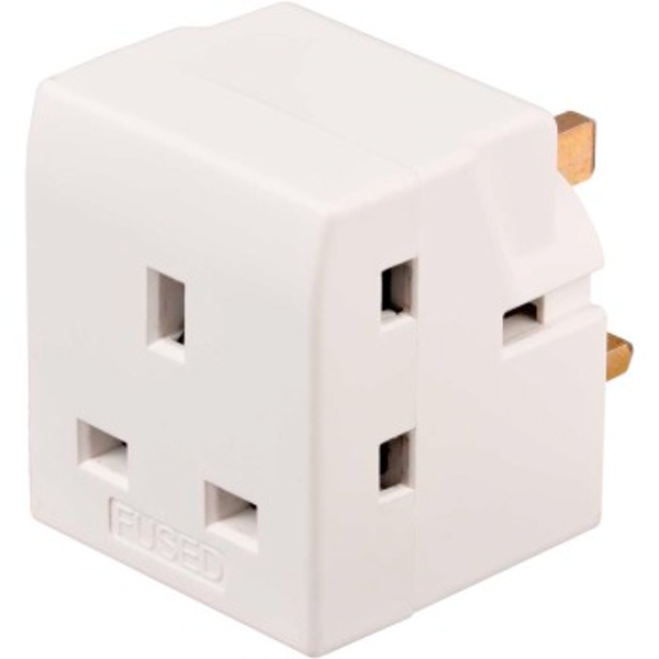 Brennenstuhl | Socket Adapter, 3 Way, for Standard GB Sockets | White