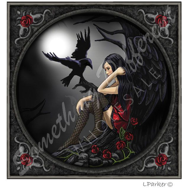 Dark Angel And Raven Card By Lisa Parker