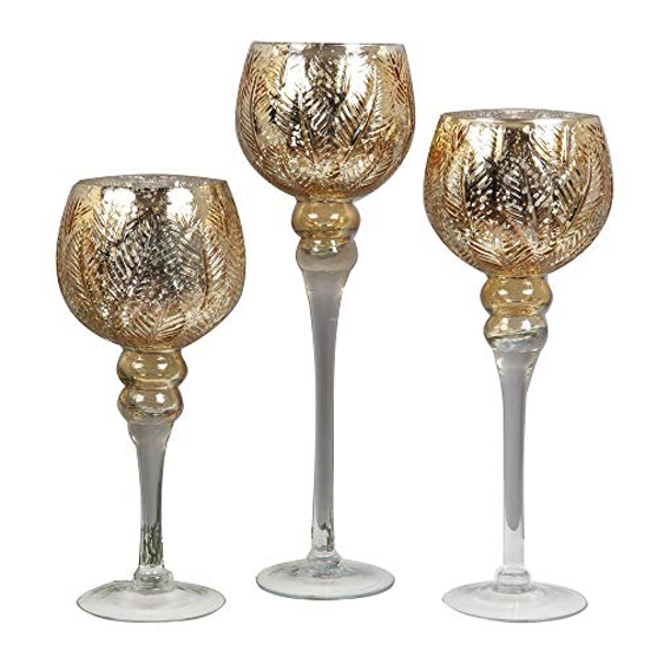Set of 3 Silver & Gold Glass Goblet Style Candle Holders