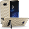 Samsung Galaxy S8 Carbon Fibre Textured Gel Case with Kickstand - Gold