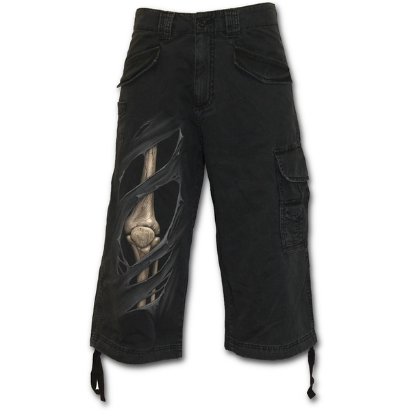 Bone Rips Men's Small 3/4 Long Vintage Cargo Shorts - Black