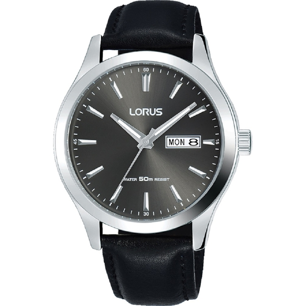 Lorus RXN63DX9 Mens Padded Black Leather Strap Dress Watch