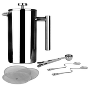 French Press Cafetiere | Steel Coffee Maker | FREE Filters & Spoons | M&W 350ml