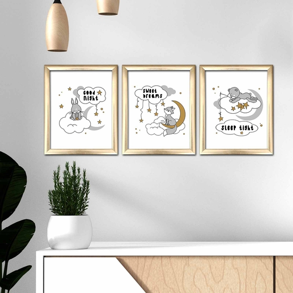 3ACT-001 Multicolor Decorative Framed MDF Painting (3 Pieces)