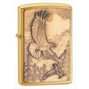Zippo Where Eagles Dare Emblem Brushed Brass Windproof Lighter