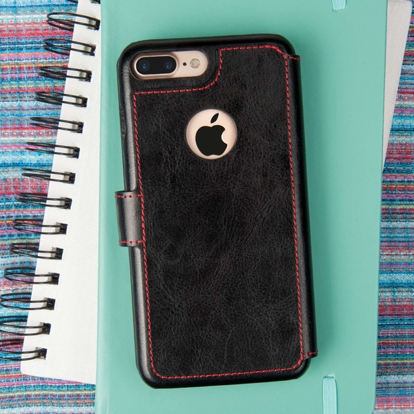 Caseflex iPhone 7 Plus PU Leather Wallet Case - Black/Red Lining (Retail Box) - Image 3
