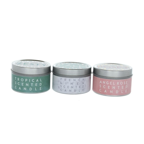 Zesty Calm Posey (Set of 3) Small Tin Candles Pineapple, Frensh Linen, Angel Rose Scent