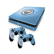 Official Manchester City FC PS4 Slim Console Skin and 2x Controller Skin Combo Pack