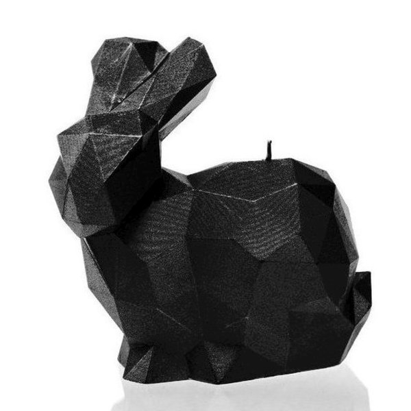 Black High Glossy Large Rabbit Candle