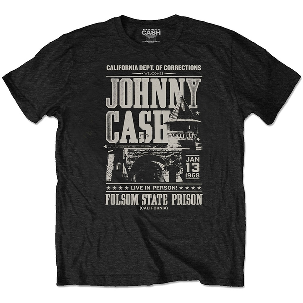 Johnny Cash - Prison Poster Unisex X-Large T-Shirt - Black