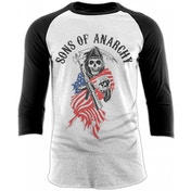 Sons Of Anarchy - Reaper Skull USA Men's X-Large Baseball Shirt - White
