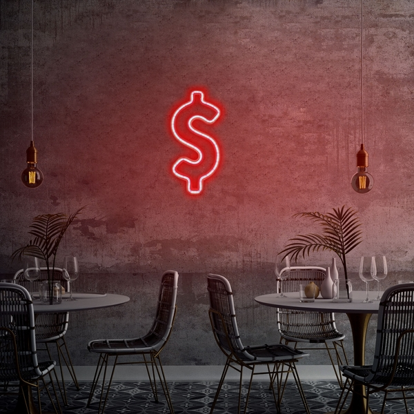 Dollar Sign - Red Red Wall Lamp