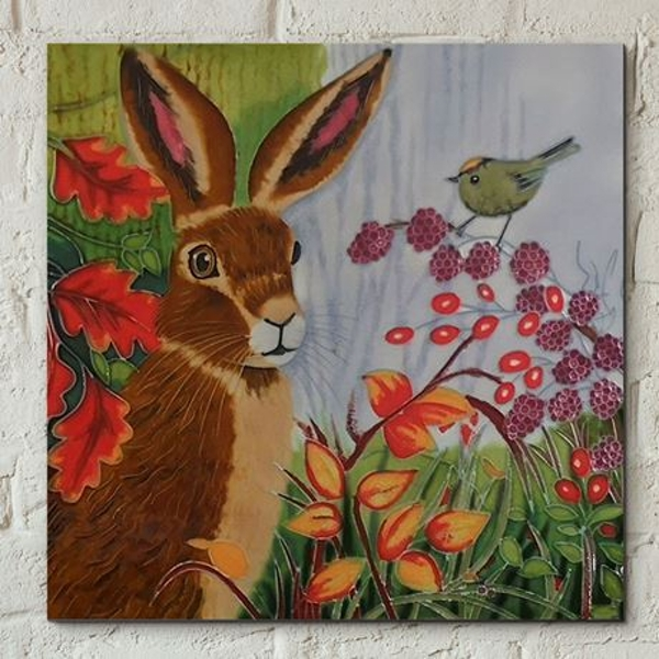 Tile 8x8 Autumn Berry Hare By J.Yates Wall Art