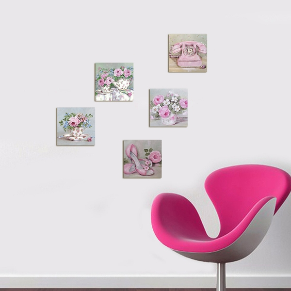 UTB036 Pink Green Decorative MDF Painting (5 Pieces)
