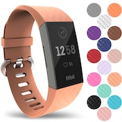 YouSave Silicone Strap - Small - Peach compatible with Fitbit Charge 3