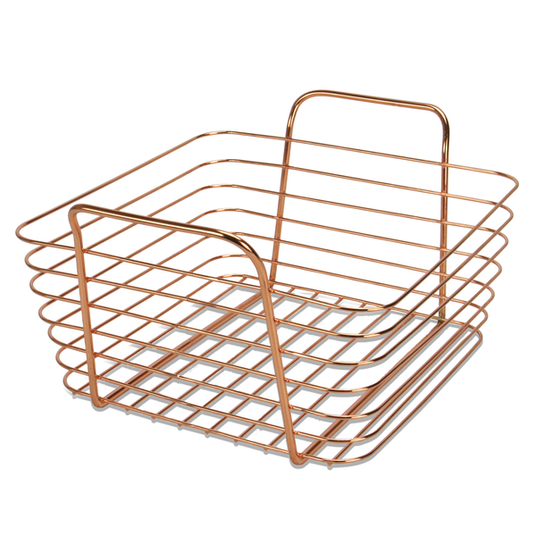 Rose Gold Metal Storage Basket | M&W Small