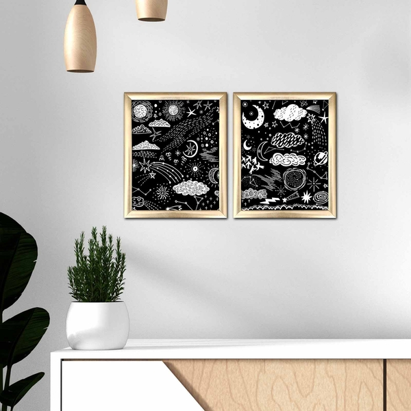 2ACT-009 Multicolor Decorative Framed MDF Painting (2 Pieces)