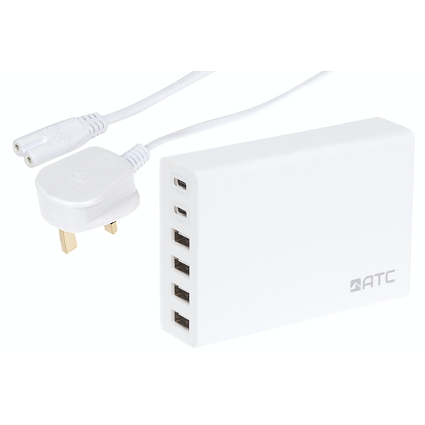 ATC 6 Port USB Charger with 4 x USB-A and 2 x USB-C
