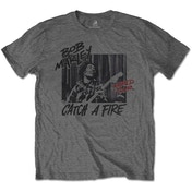 Bob Marley - Catch A Fire World Tour Men's Medium T-Shirt - Charcoal Grey