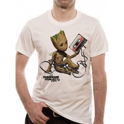 Guardians Of The Galaxy 2 Groot & Tape Men's XXXXX-Large T-Shirt - White