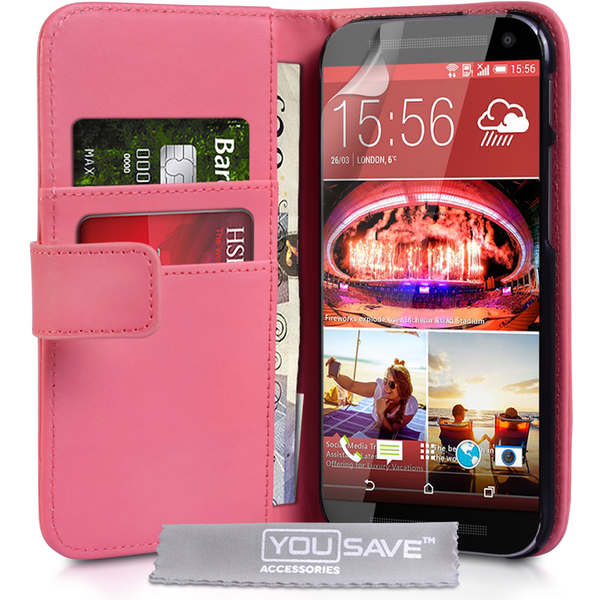 YouSave Accessories HTC One M9 Leather-Effect Wallet Case - Hot Pink